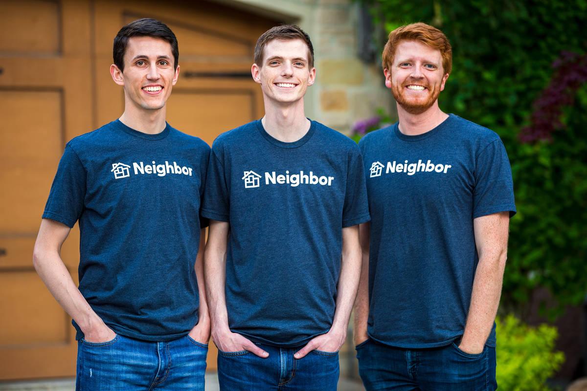 Neighbor Neighbor founders, from left, Joseph Woodbury, Colton Gardner and Preston Alder, recen ...