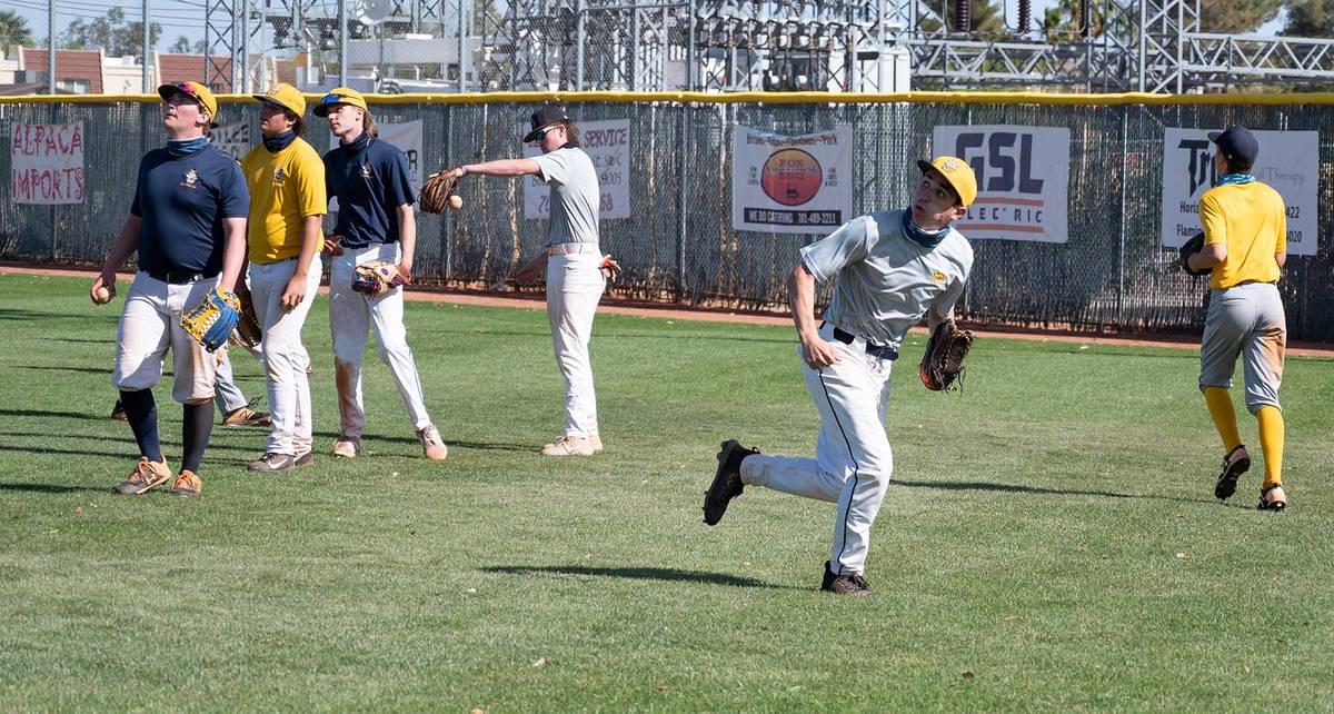 (Jamie Jane/Boulder City Review) Boulder City High School's varsity baseball team, seen durin ...