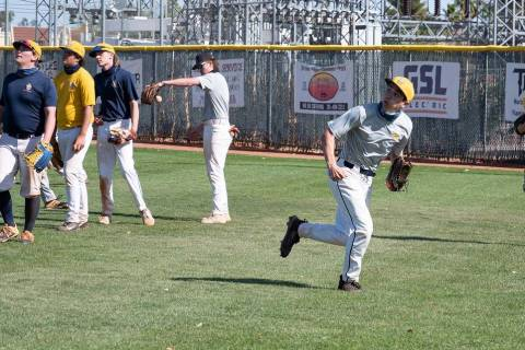 (Jamie Jane/Boulder City Review) Boulder City High School's varsity baseball team, seen durin ...