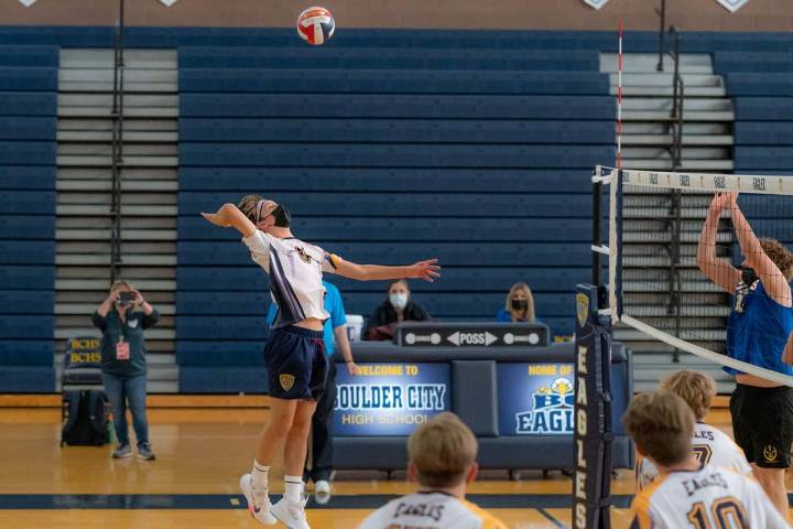(Jamie Jane/Boulder City Review) Junior Kannon Rose scored 15 kills and 10 serving aces in Boul ...