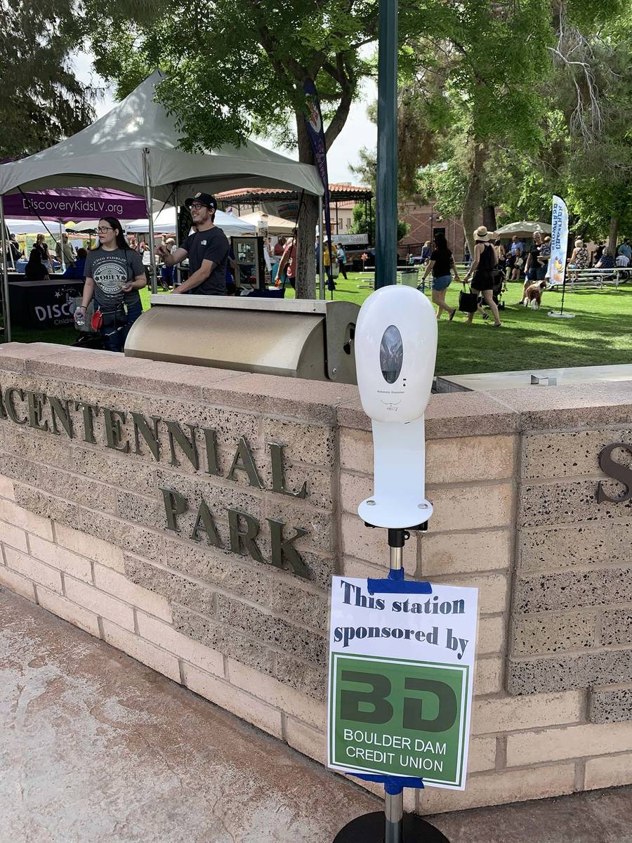 (Hali Bernstein Saylor/Boulder City Review) Sanitation stations were placed throughout the park ...