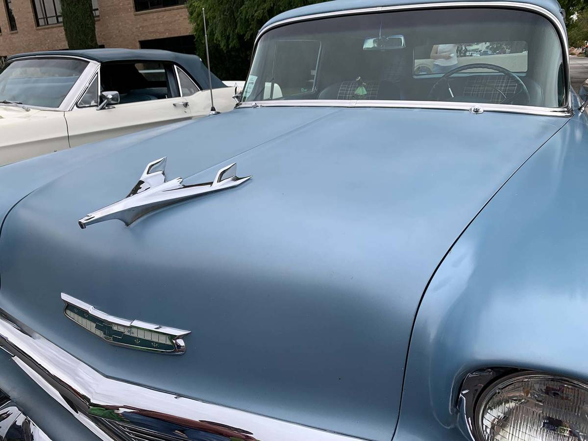 (Hali Bernstein Saylor/Boulder City Review) A 1950s hood ornament adorns a Chevrolet on display ...