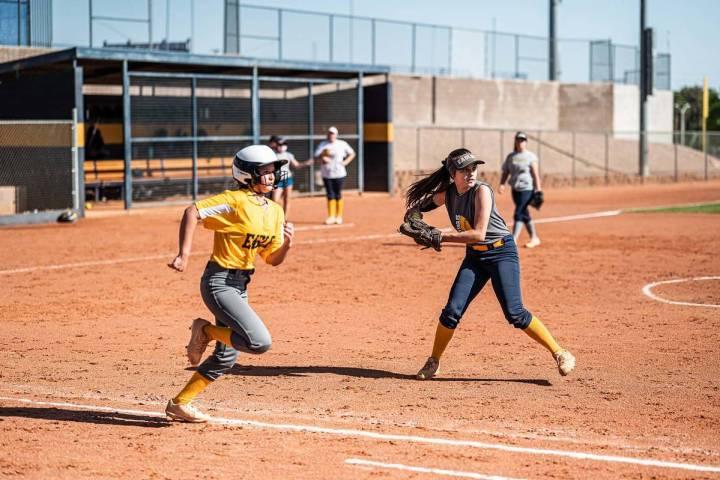 (Jamie Jane/Boulder City Review) Boulder City High School's softball team has a 4-2 record so f ...