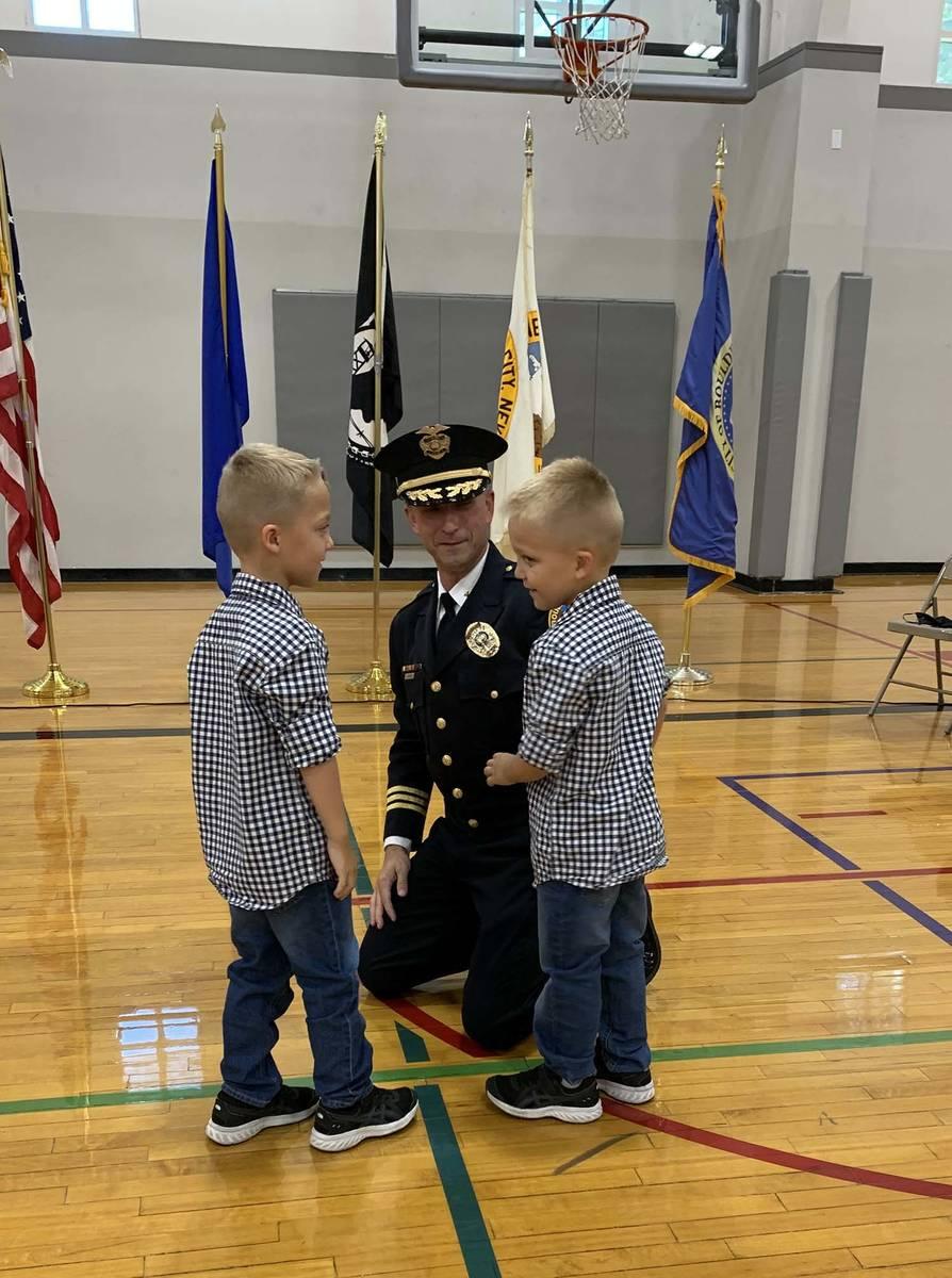 (Hali Bernstein Saylor/Boulder City Review) Boulder City Police officer Aaron Johnson has his n ...