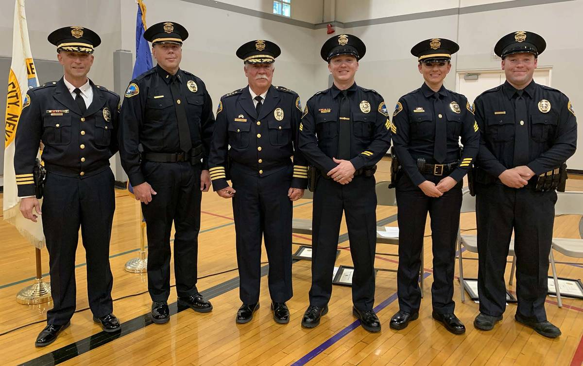 (Hali Bernstein Saylor/Boulder City Review) A ceremony to promote and swear in Boulder City Pol ...