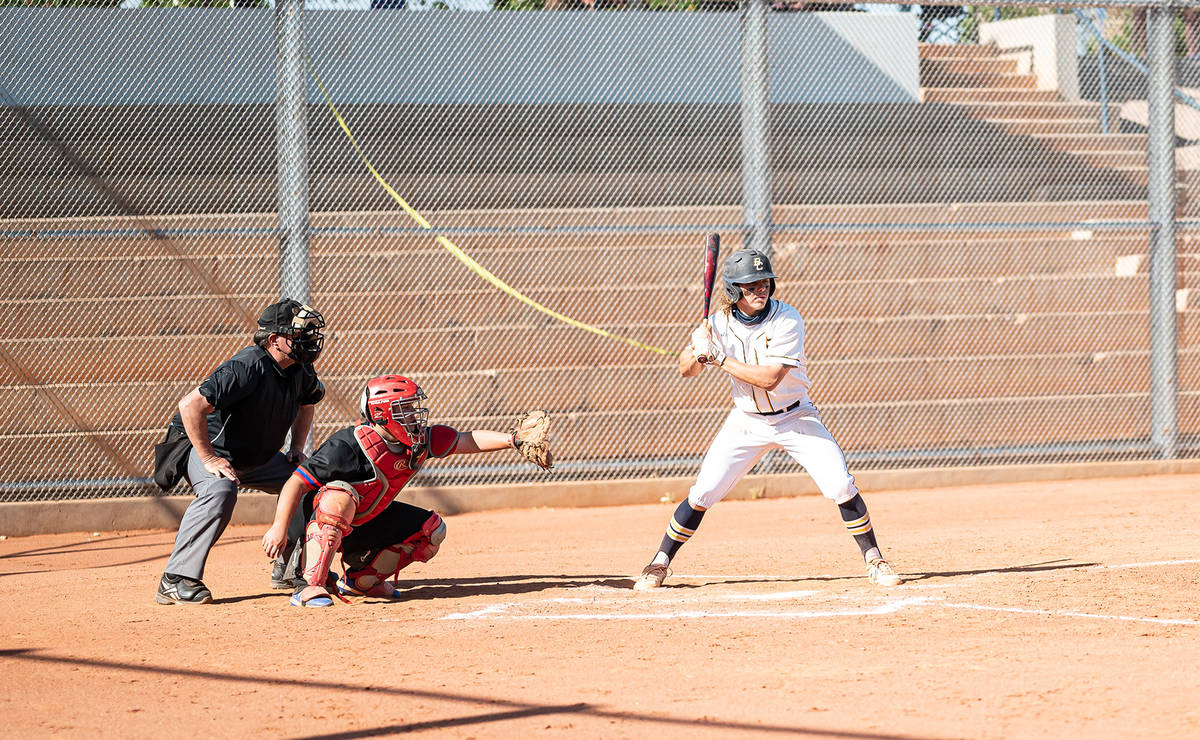 (Jamie Jane/Boulder City Review) Senior Blaze Trumble steps up to the plate as the Eagles face ...