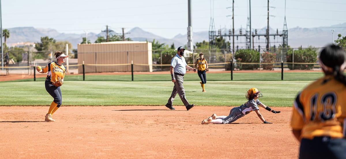 (Jamie Jane/Boulder City Review) Boulder City High's shortstop Rachel Krumm tries to get ...