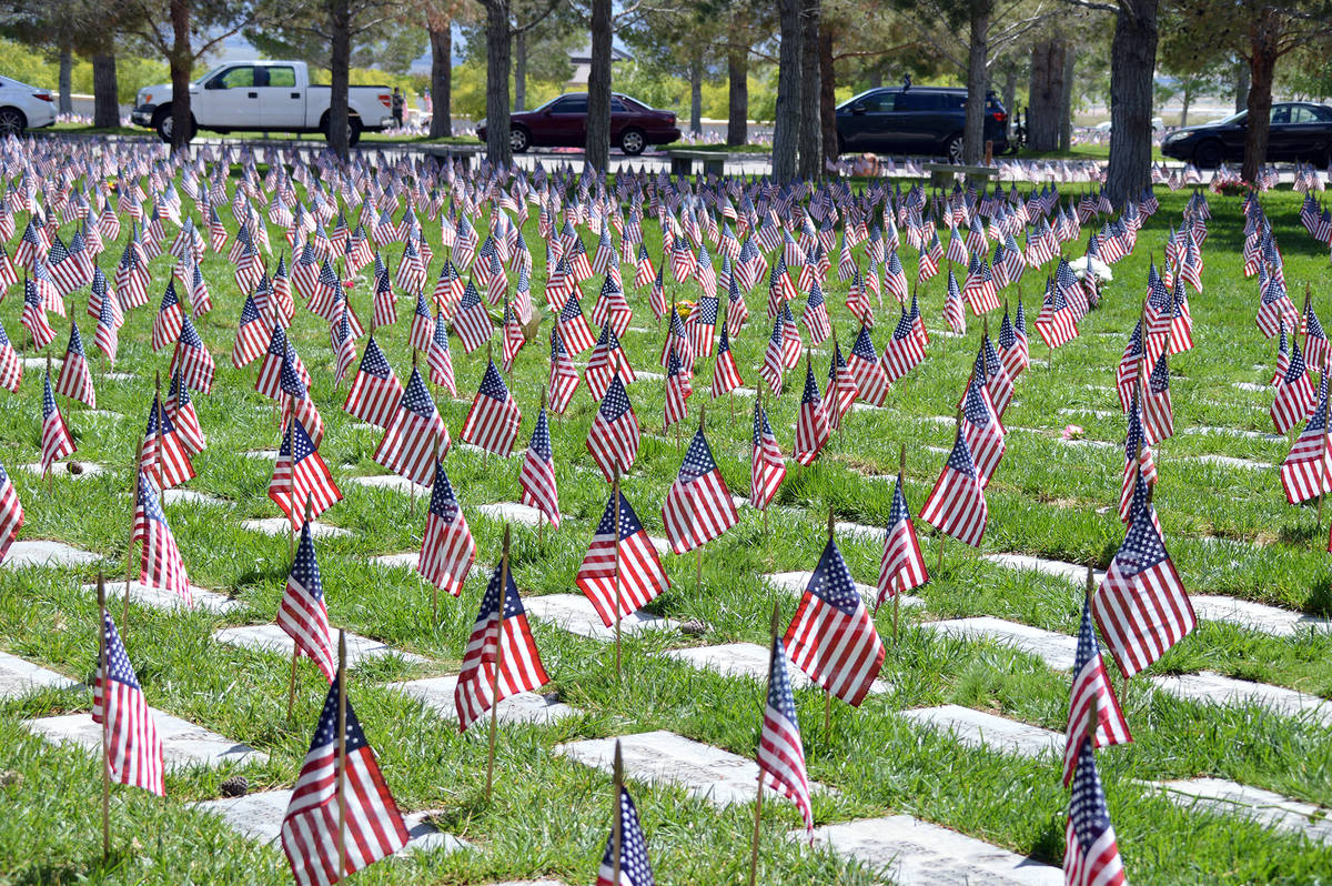 Flags will be flown above the graves of those buried at Southern Nevada Veterans Memorial Cemet ...