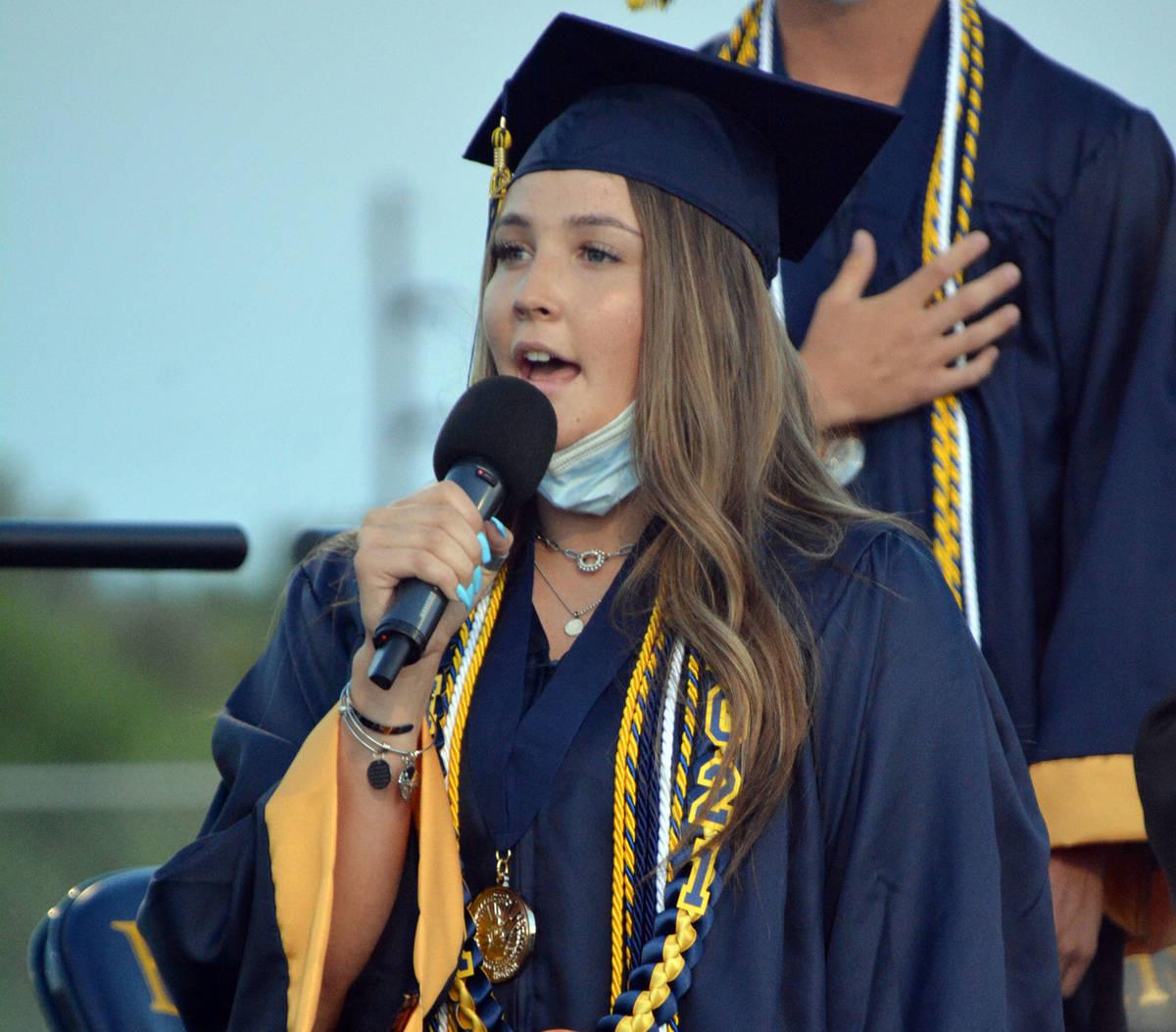 Celia Shortt Goodyear/Boulder City Review Graduating senior Rachel Krumm sang the national anth ...