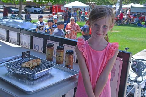Celia Shortt Goodyear/Boulder City Review Six-year-old Harper King shows off the chicken she co ...
