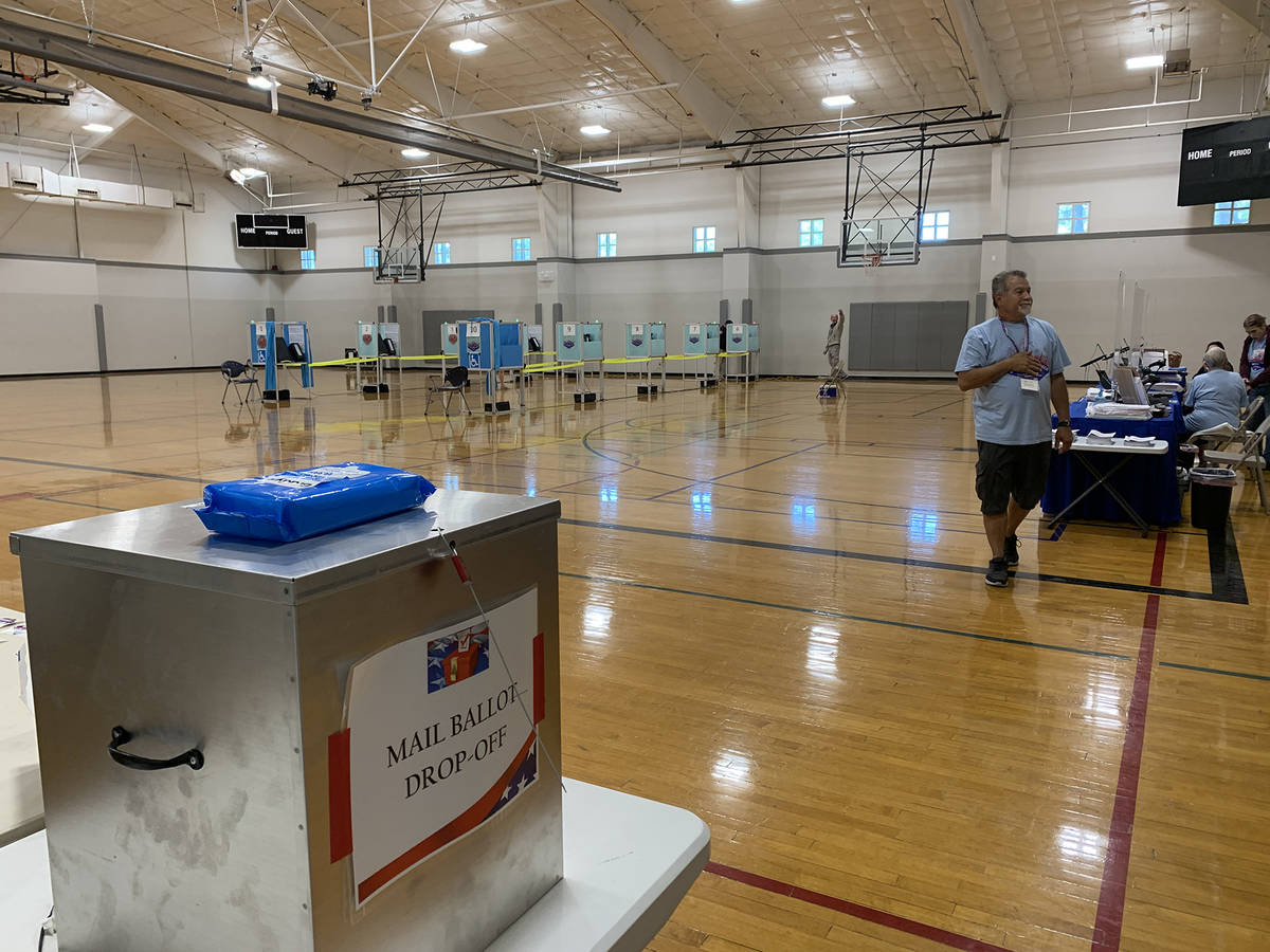 (Hali Bernstein Saylor/Boulder City Review) A steady, but uncrowded, stream of voters came to t ...