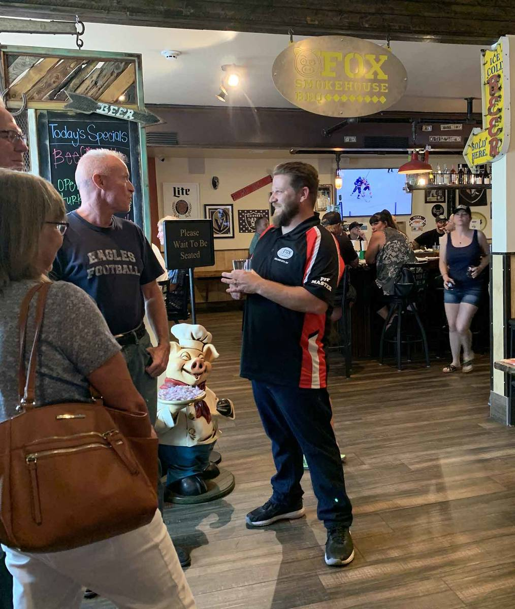 (Hali Bernstein Saylor/Boulder City Review) Mathew Fox, right, meets with supporters during a c ...