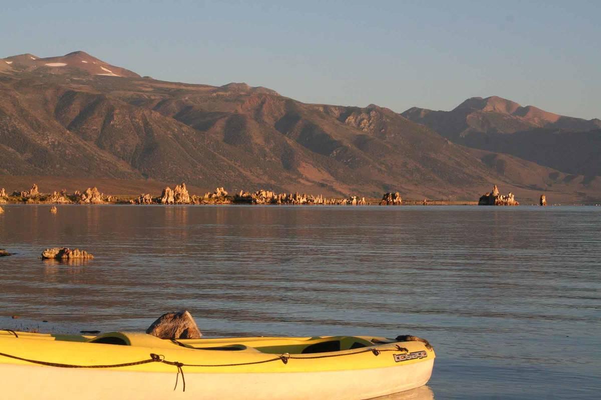 (Deborah Wall) Kayaking is a wonderful way to explore the 65-square-mile Mono Lake, located nea ...