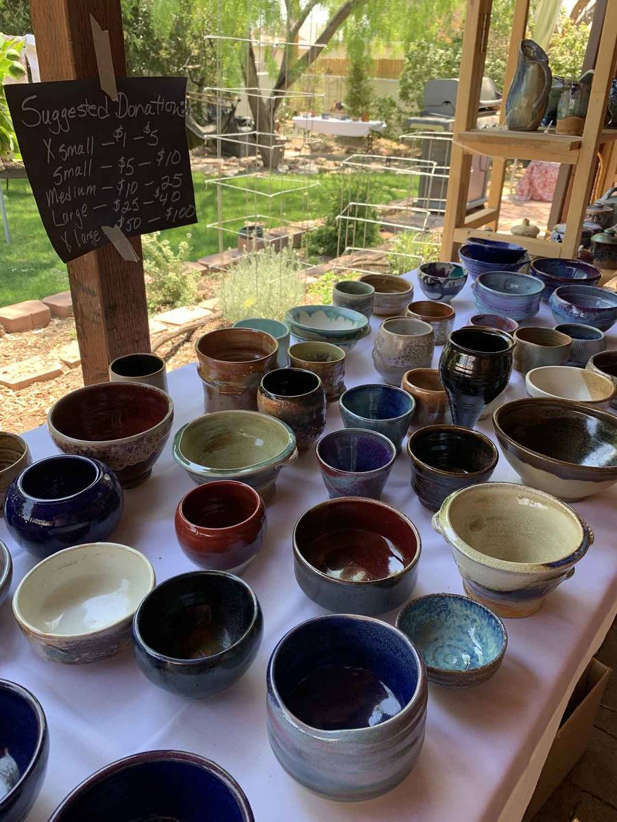 (Hali Bernstein Saylor/Boulder City Review) Area ceramic artists donated pieces they made, many ...