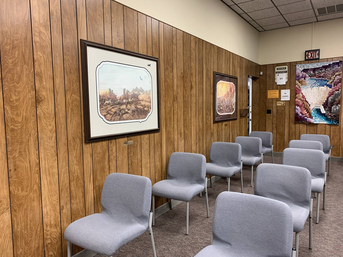 (Hali Bernstein Saylor/Boulder City Review) The wood paneling inside the council chambers in Ci ...