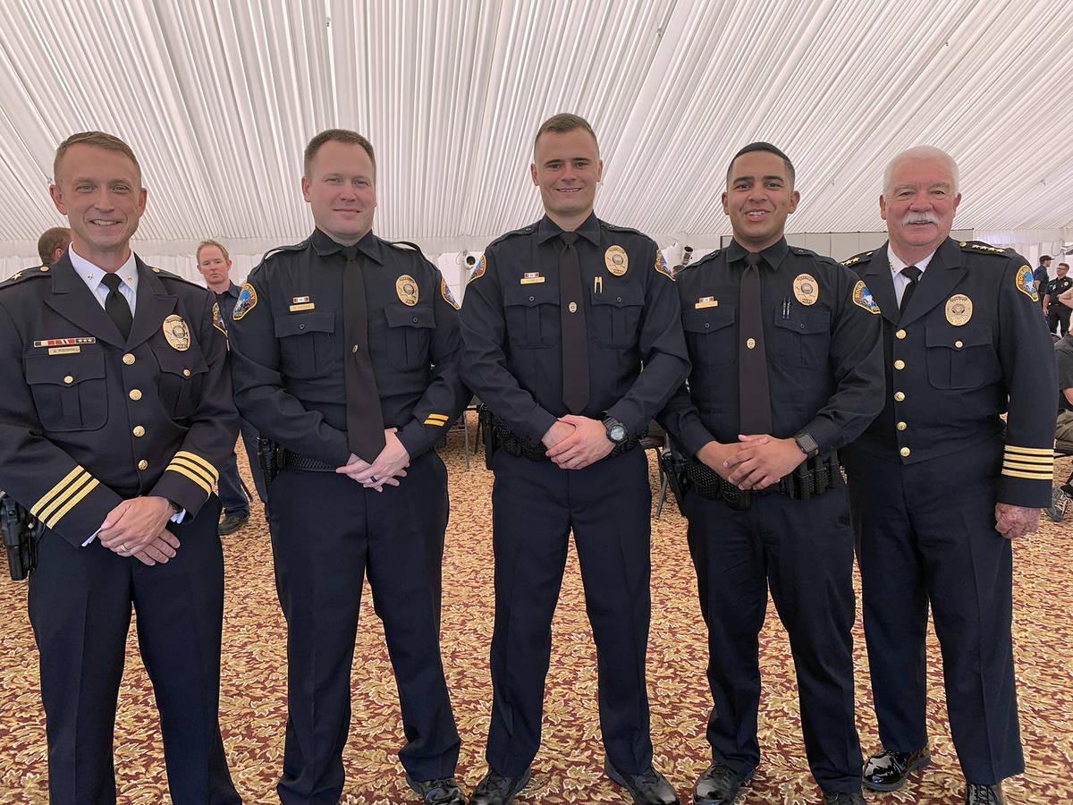 (Hali Bernstein Saylor/Boulder City Review) Boulder City Police officers Guy Liedkie, second fr ...