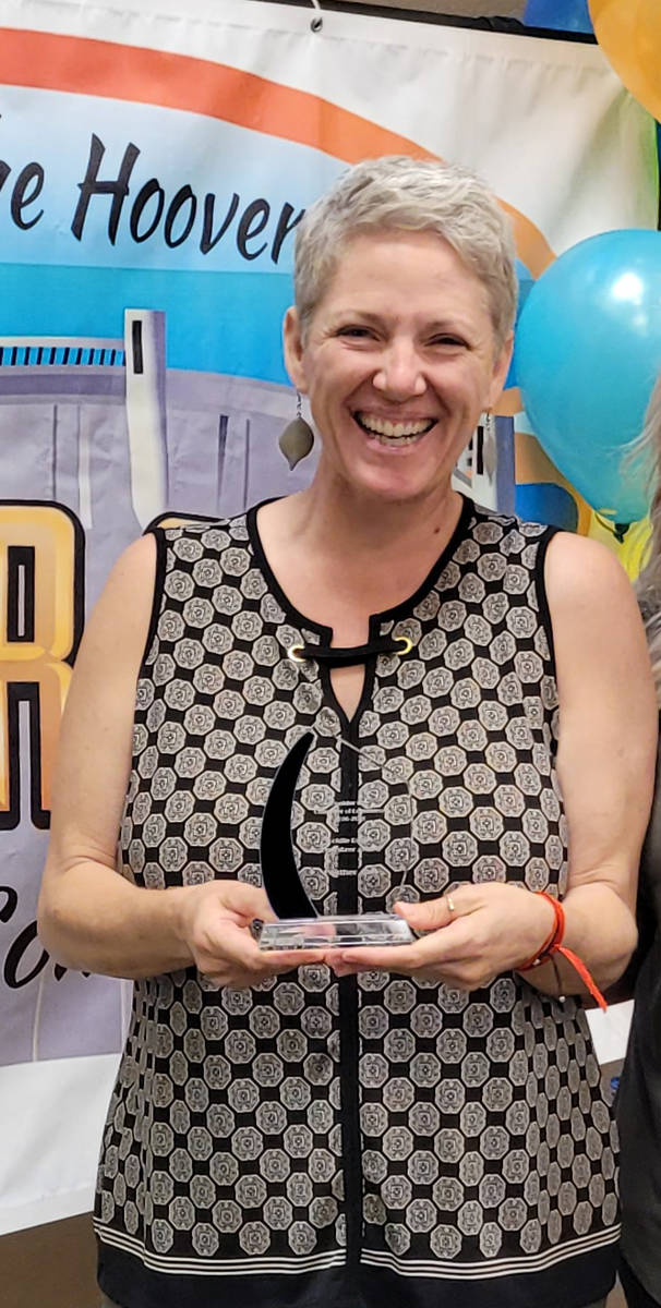 (Pam Leon/Boulder City Chamber of Commerce) Heather Abel of Rail Explorers was given the Goldie ...