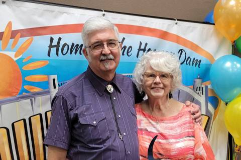 (Pam Leon/Boulder City Chamber of Commerce) Jon and Norma Barth of Barth Electronics were prese ...