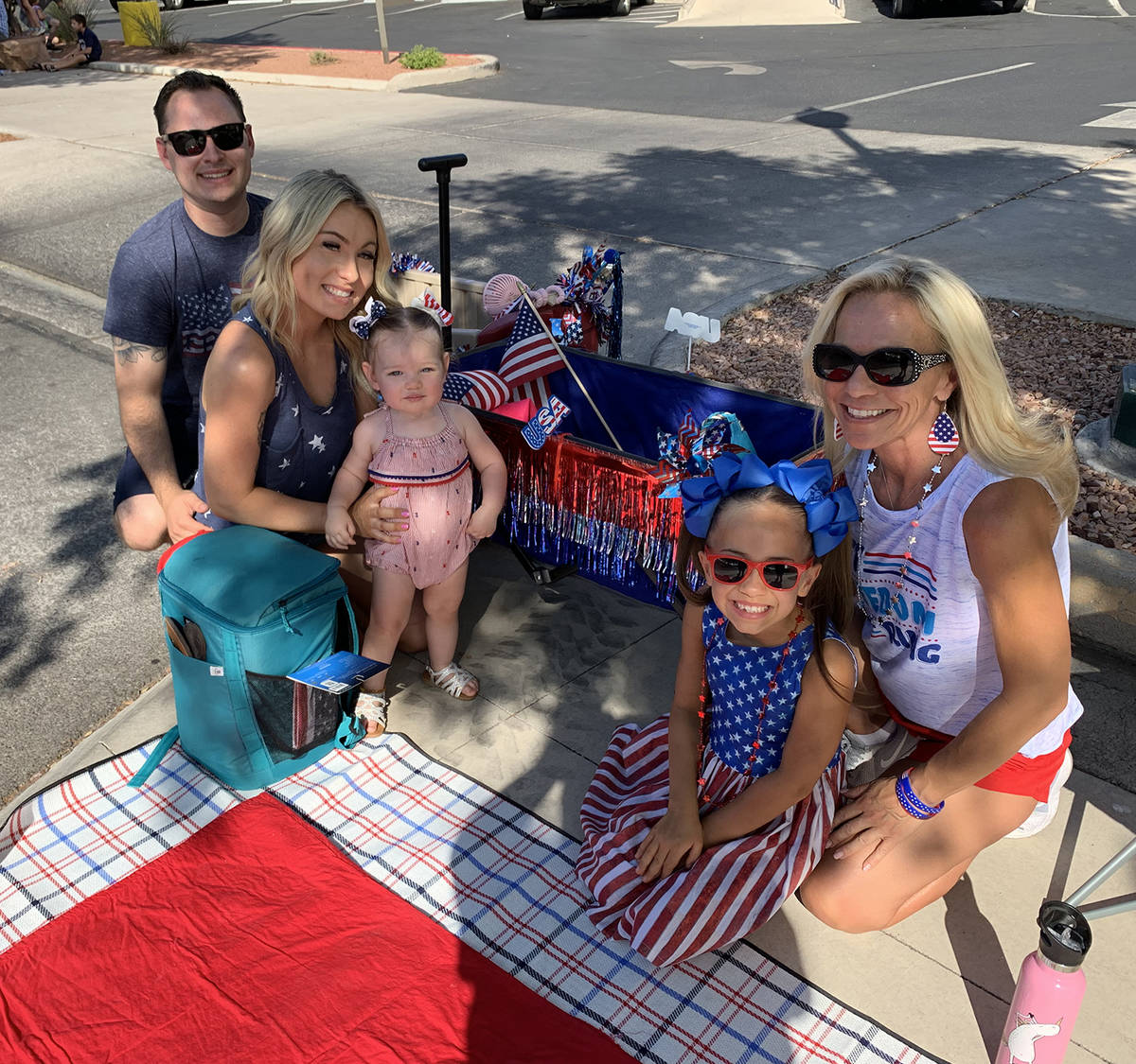 (Hali Bernstein Saylor/Boulder City Review) Decked out in patriotic attire, from left, Cody Obe ...