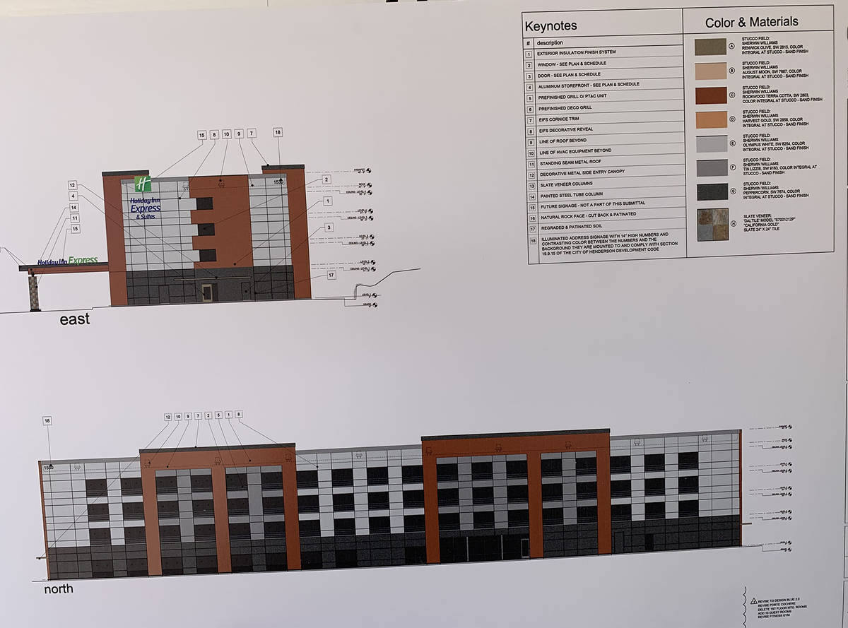 (Hali Bernstein Saylor/Boulder City Review) A rendering of the new Holiday Inn Express was on d ...