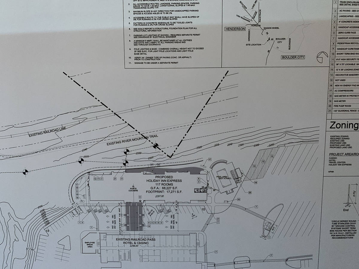 (Hali Bernstein Saylor/Boulder City Review) A map of the Railroad Pass property shows where the ...