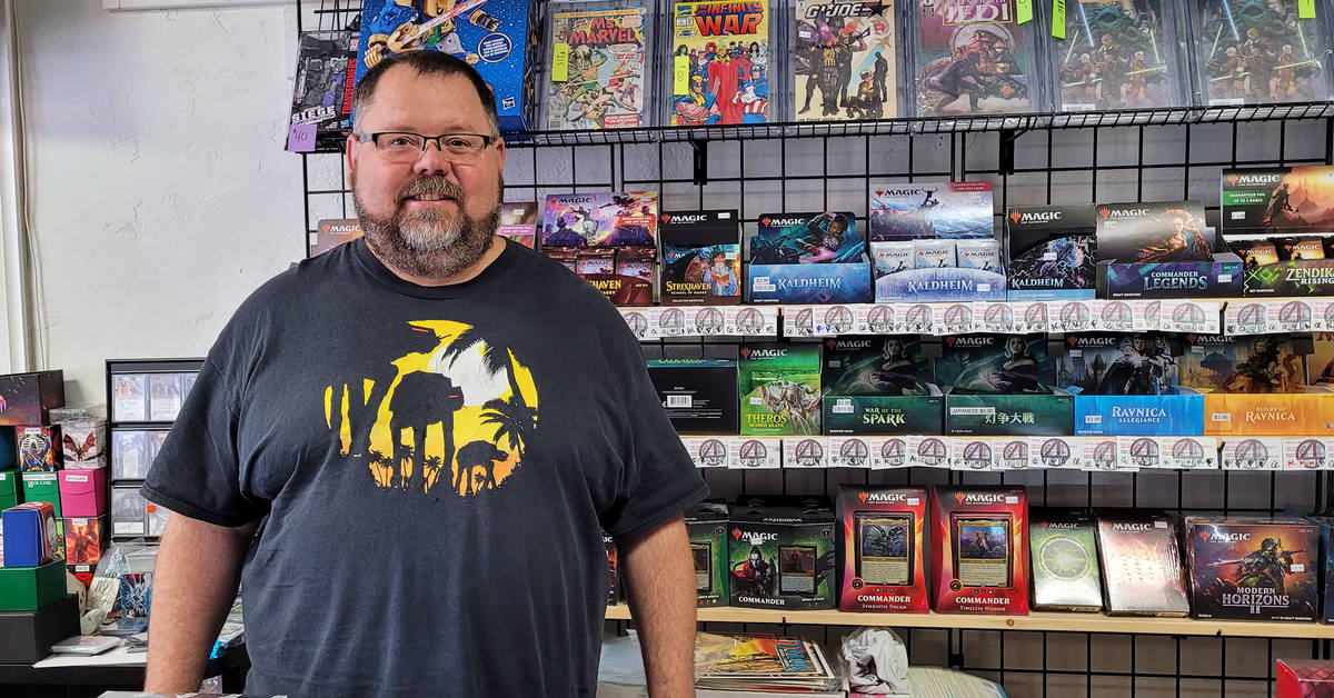 Celia Shortt Goodyear/Boulder City Review Mike Collins' shop, My 4 Sons Cards Comics and Games, ...