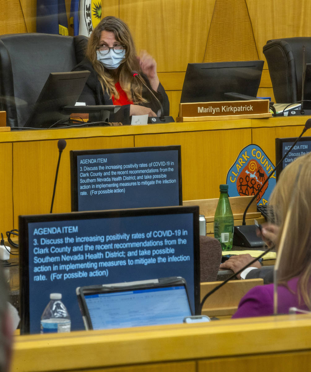 Clark County Commission Chairman Marilyn Kirkpatrick listens to a discussion during an emergenc ...