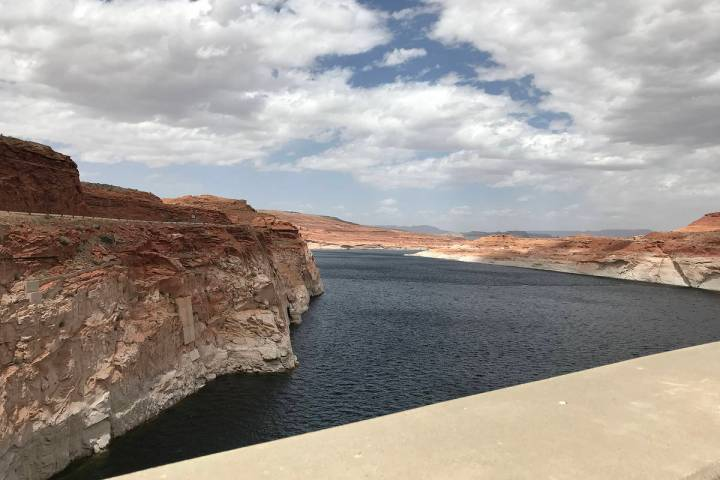 Lake Powell, as seen from the Glen Canyon Dam in Page, Arizona, is the country's second-large ...