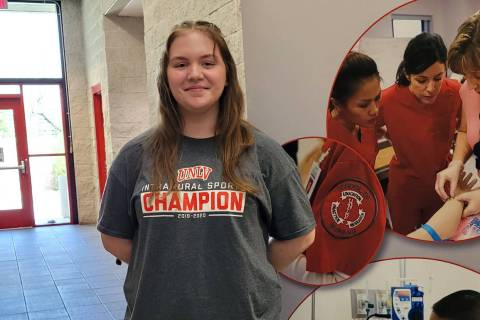 Celia Shortt Goodyear/Boulder City Review Boulder City High School senior Cassie Strachan recen ...