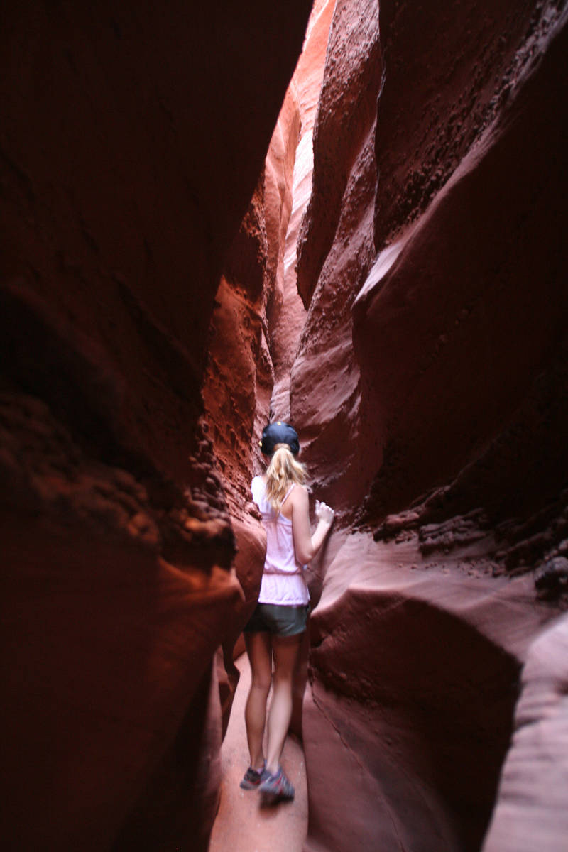 (Deborah Wall) Making your way to the depths of Spooky Canyon at Grand Staircase Escalante Nati ...