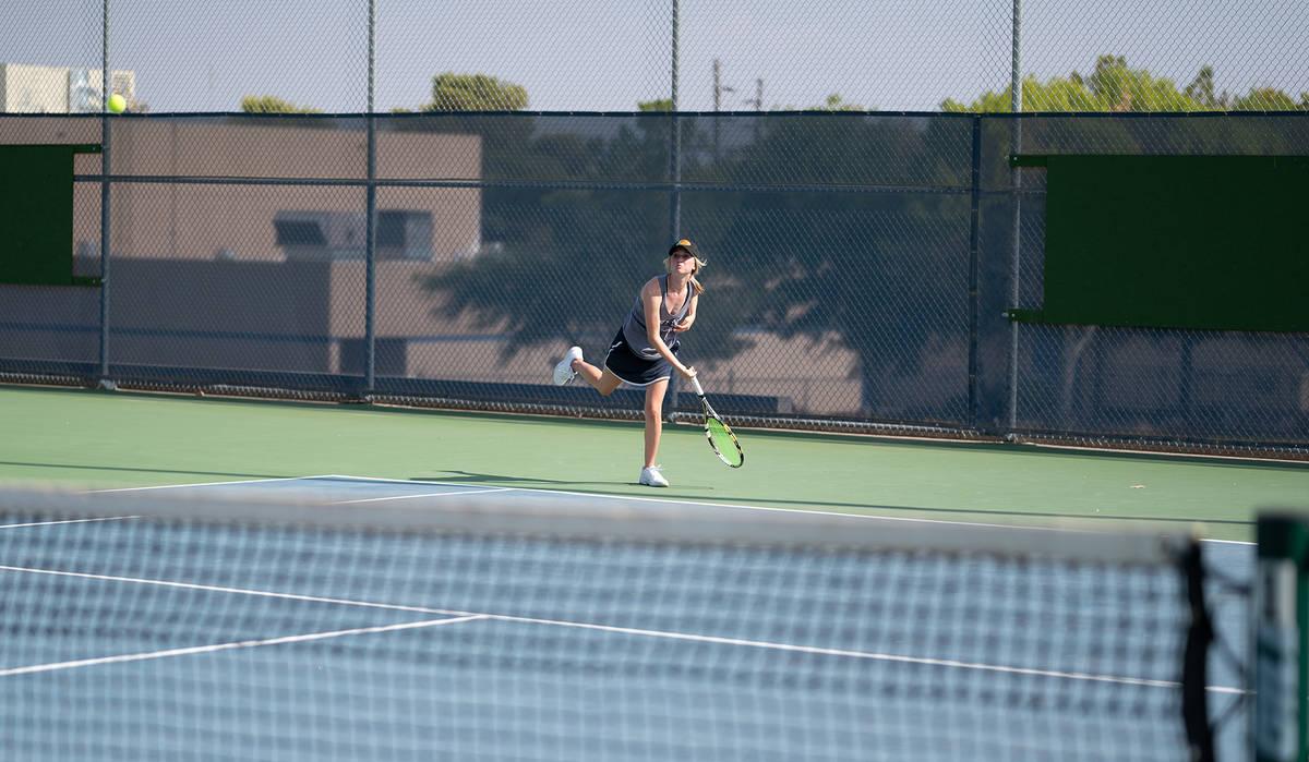 (Jamie Jane/Boulder City Review) Senior Reggi Gibbs won both of her matches against Virgin Vall ...