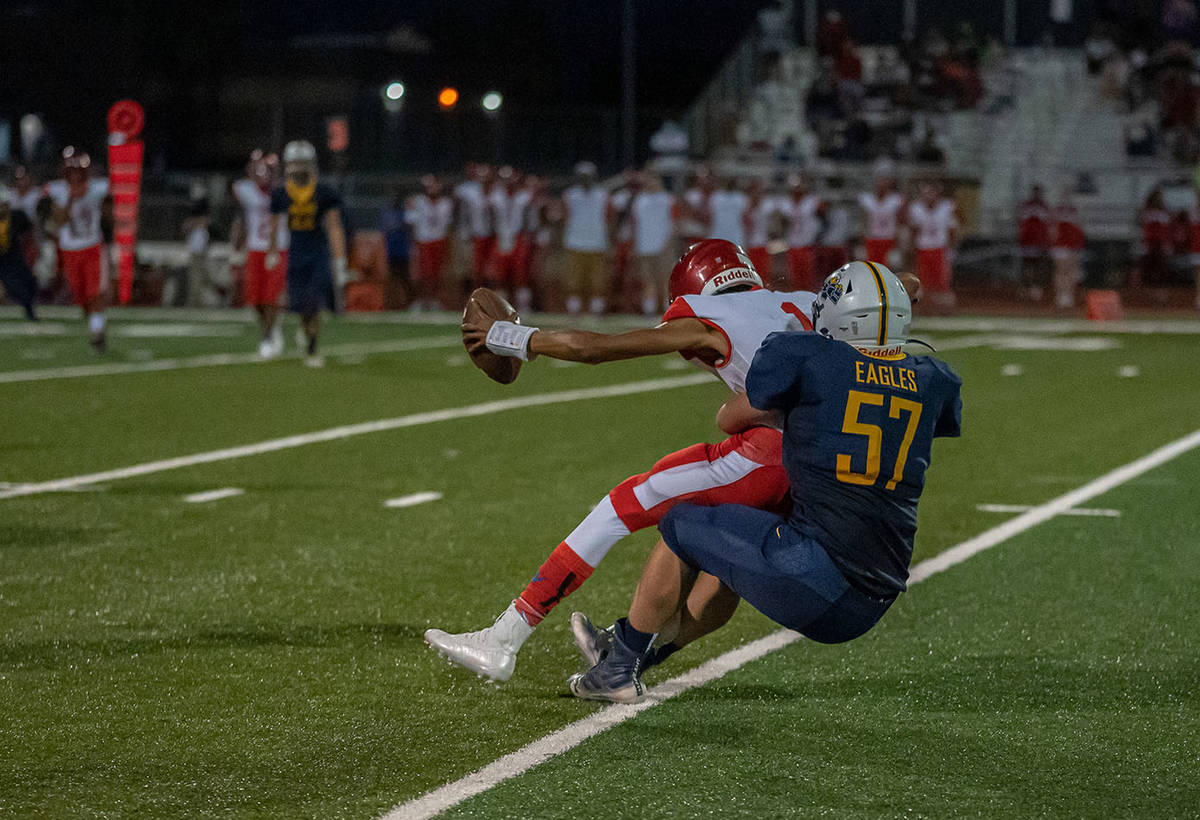 (Jamie Jane/Boulder City Review) In the Eagles' 35-6 win over Valley on Friday, Aug. 27, ...