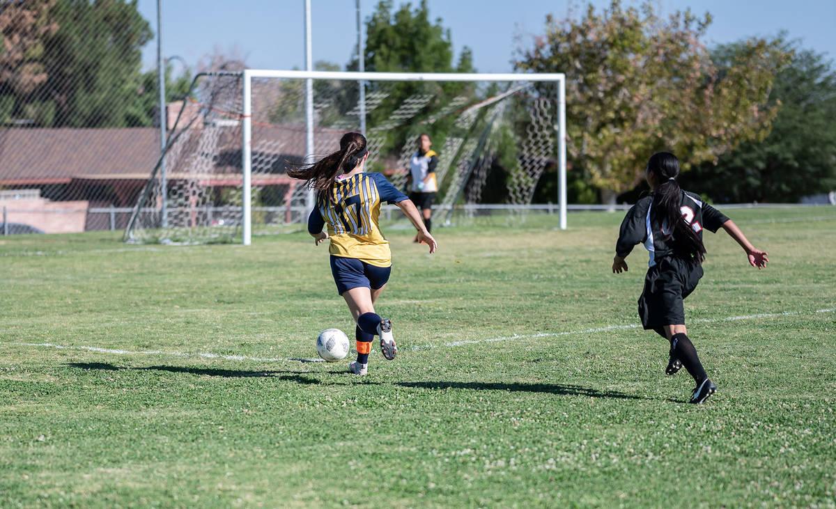 (Jamie Jane/Boulder City Review) Boulder City High School sophomore Nathasha Oeland added a goa ...