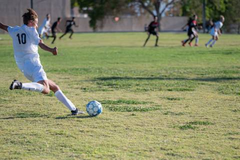 (Jamie Jane/Boulder City Review) In the Eagles' 6-1 win over Mater East on Aug. 26, sophomore ...