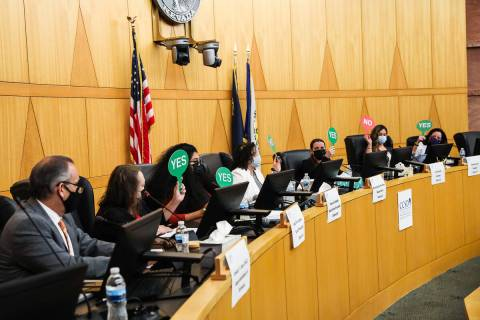 (Rachel Aston/Special to the Boulder City Review) Clark County School Board voted 5-1 to approv ...