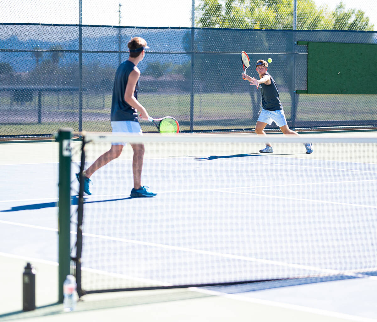 (Jamie Jane/Boulder City Review) Seniors Kannon, left, and Kenny Rose finished 2-1 against The ...