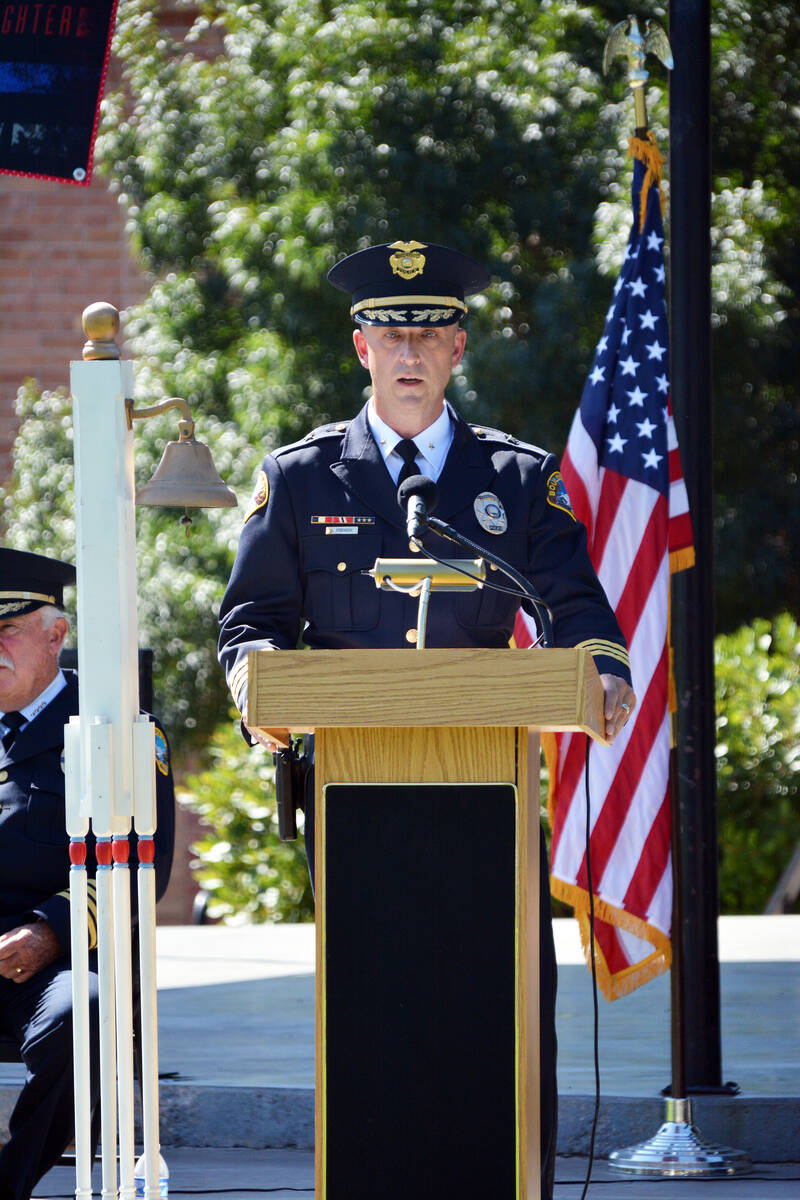 Celia Shortt Goodyear/Boulder City Review Boulder City Police Cmdr. Aaron Johnson recounts his ...