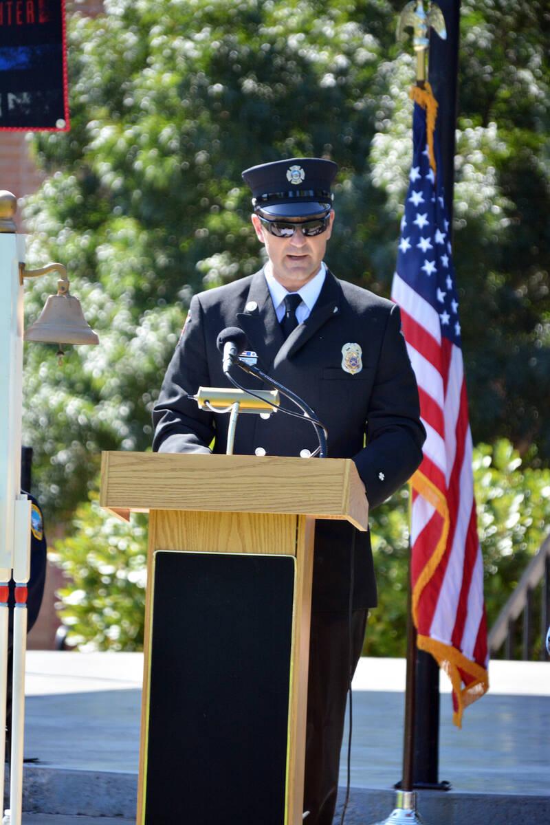 Celia Shortt Goodyear/Boulder City Review Boulder City firefighter/paramedic Jay Dardano talks ...