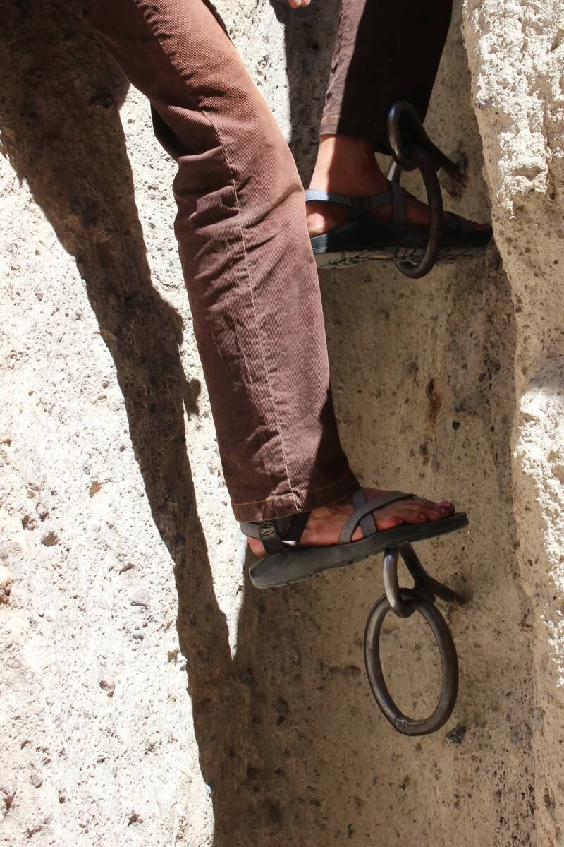 (Deborah Wall) Ring bolts were placed in this narrow slot canyon by the Bureau of Land Manageme ...
