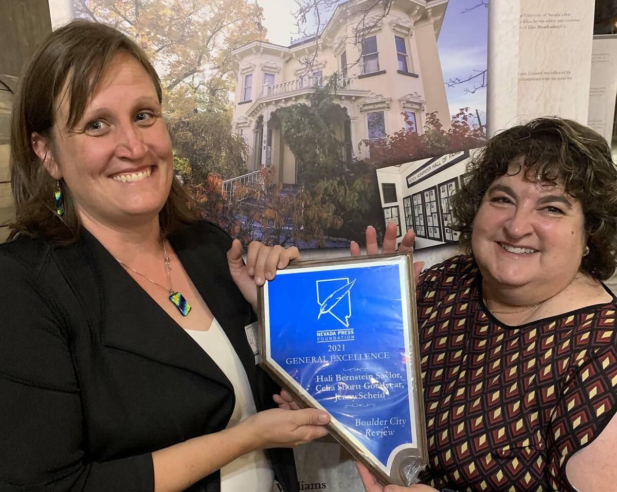 (Boulder City Review) Reporter Celia Shortt Goodyear, left, and Editor Hali Bernstein Saylor ce ...