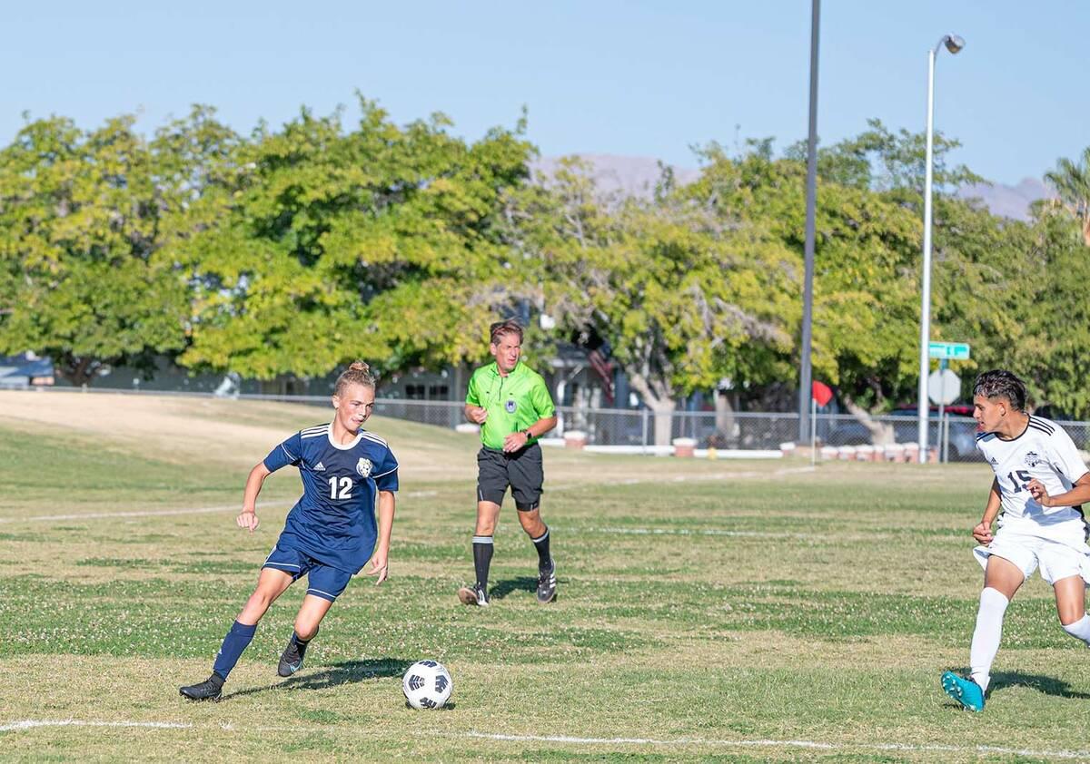 (Jamie Jane/Boulder City Review) Boulder City High School senior Sean Pendleton added a goal fo ...