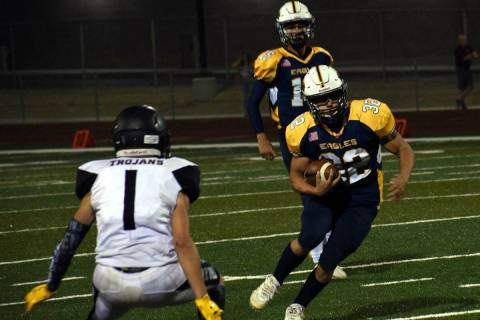 (Pernell Bryant/Boulder City Review) Boulder City High School junior Hunter Moore rushed for 14 ...