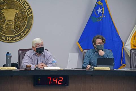 Celia Shortt Goodyear/Boulder City Review Boulder City Mayor Kiernan McManus, left, and Council ...