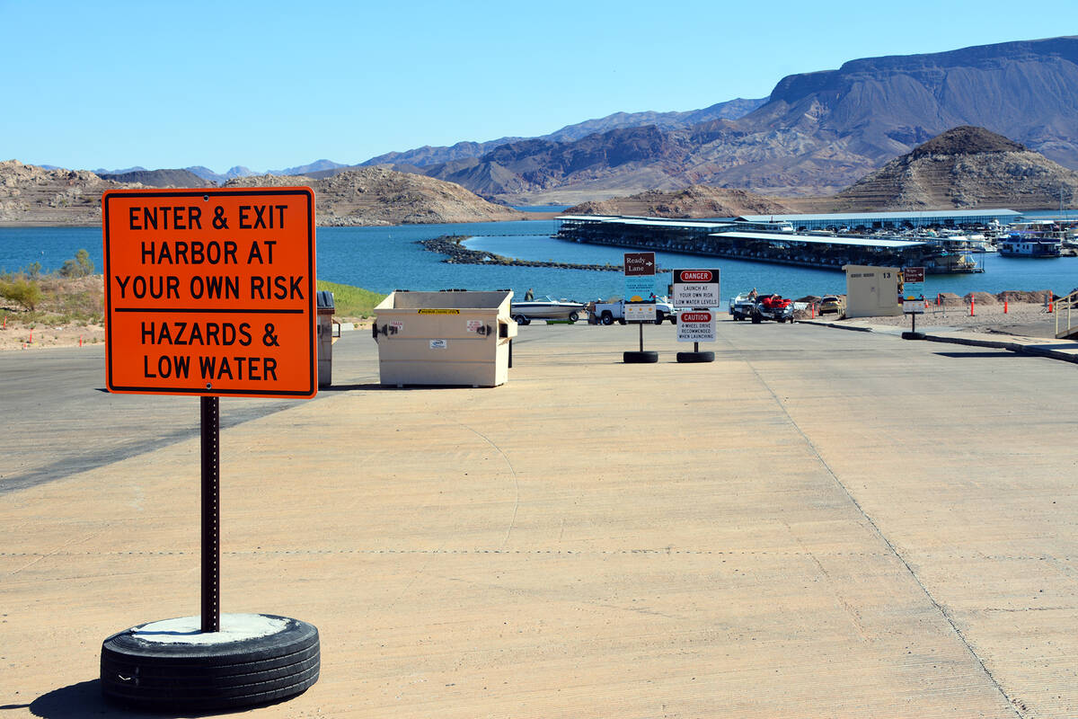 Celia Shortt Goodyear/Boulder City Review Hemenway Harbor is down to one lane for its boat laun ...