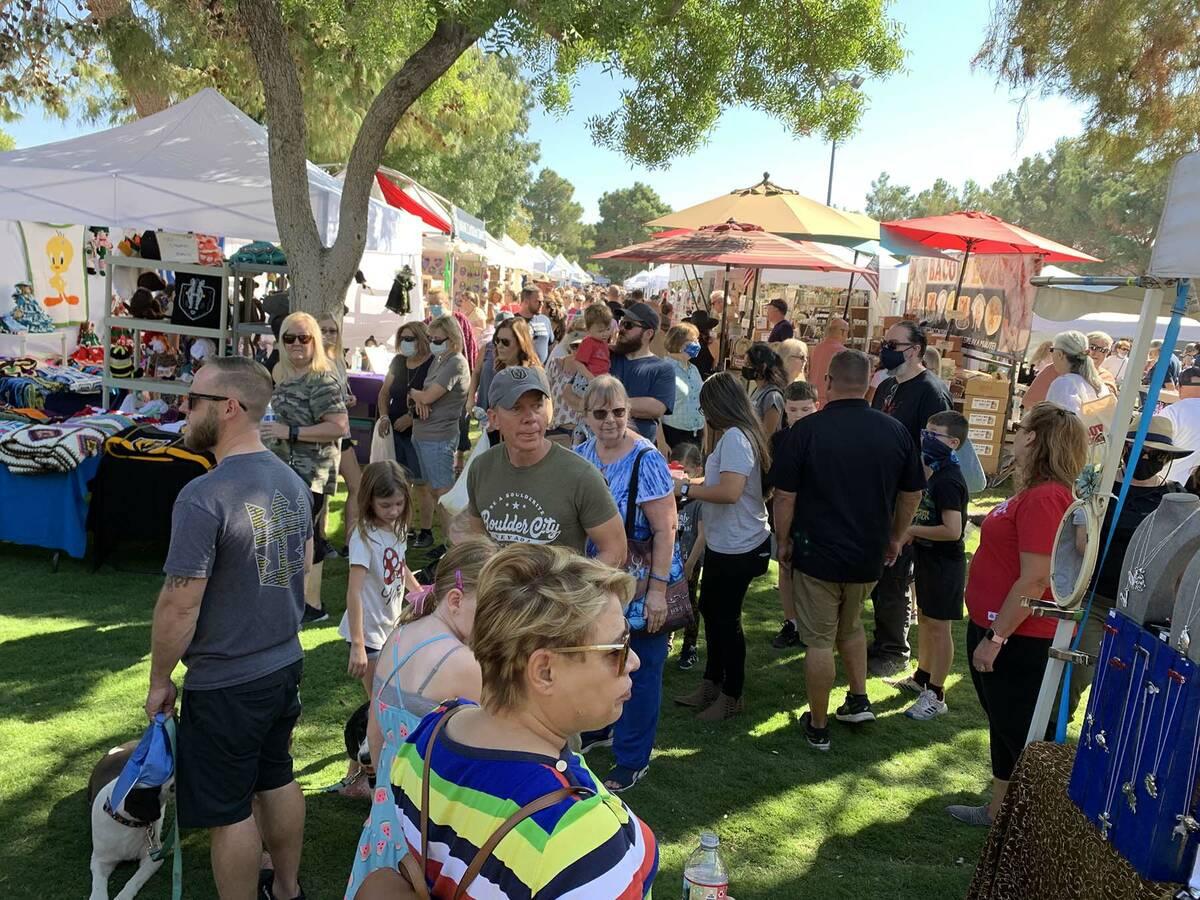 (Hali Bernstein Saylor/Boulder City Review) Thousands of people filled four downtown Boulder Ci ...