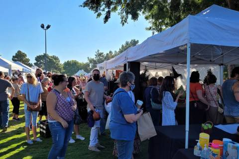 """Celia Shortt Goodyear/Boulder City Review The """"Out of Our Gourd"""" booth at Art in the Park was p ..."""