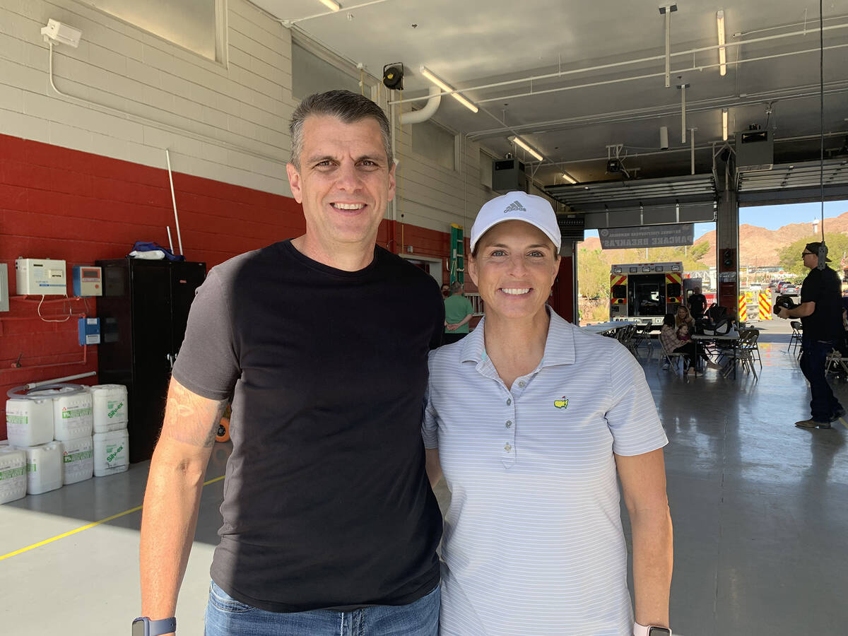(Hali Bernstein Saylor/Boulder City Review) Boulder City Fire Chief Will Gray visited with Coun ...