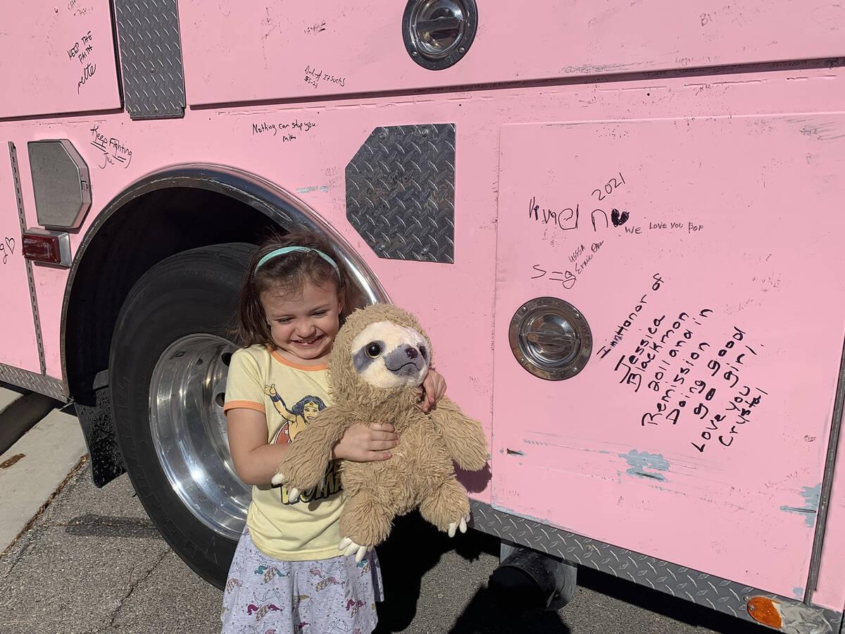 (Hali Bernstein Saylor/Boulder City Review) Vivian Lasoff, 4, and her school project Sammy the ...