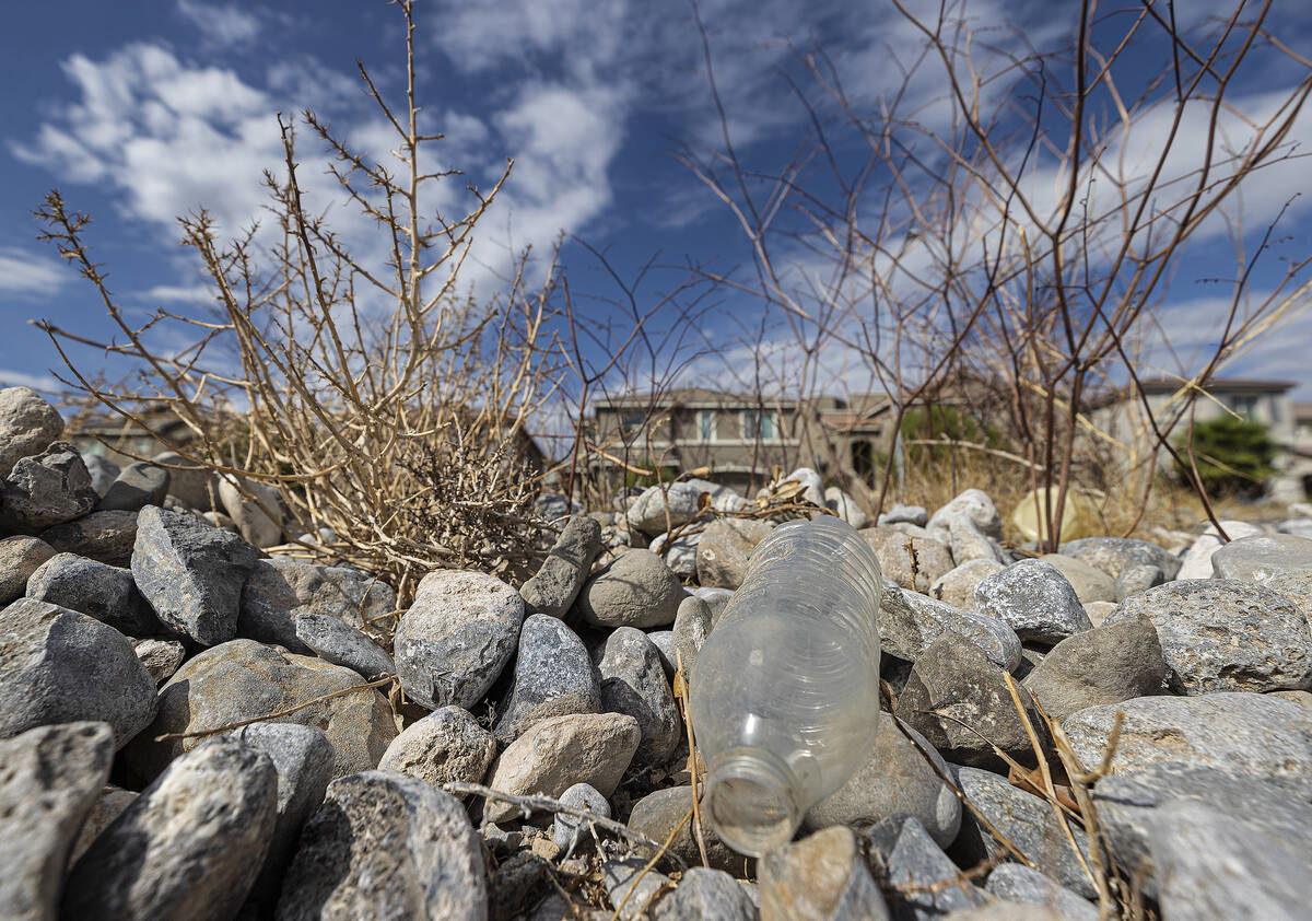 (Benjamin Hager/Special to the Boulder City Review) An empty water bottle is seen in a vacant f ...
