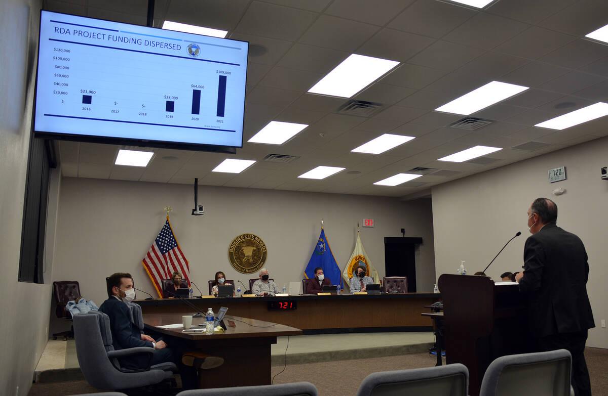 Celia Shortt Goodyear/Boulder City Review Community Development Director Michael Mays presents ...